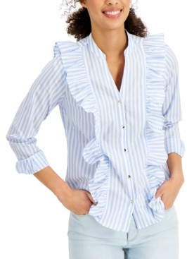 Charter Club Petite Cotton Striped Ruffled Blouse, Created for Macy's