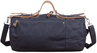 Touri Baguette Style Waxed Canvas Gym Bag In Charcoal Black