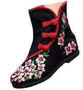 Shenghuajie Vintage Beijing Cloth Shoes Embroidered Boots 12-02 black with cotton