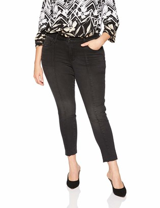 Seven7 Women's Plus Size Mid Rise Signature Ankle Skinny