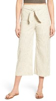 Moon River Women's Stripe Tie Waist Linen Pants