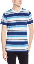 Southpole Men's Stripe V-Neck Tee with Thick Auto Stripes Contrasting Color Tone