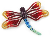 Avalaya Multicoloured Swarovski Crystal 'Dragonfly' Brooch In Plated Metal