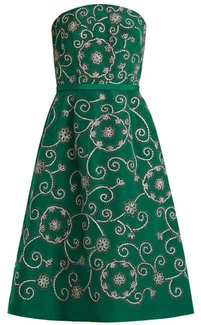 Oscar de la Renta Swirl Embroidered Strapless Silk Dress - Womens - Green
