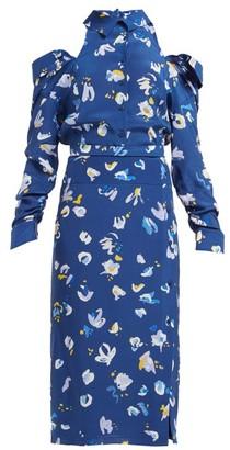 Altuzarra Chiara Cut-out Floral-print Silk Crepe Midi Dress - Womens - Blue Multi