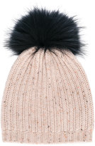 Yves Salomon Enfant fur trim ribbed beanie