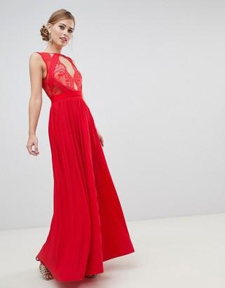 Asos Design DESIGN premium scallop lace top pleated maxi dress-Red