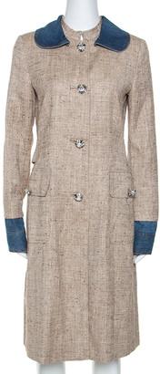 Dolce & Gabbana Beige Silk Linen Blend Denim Trim Tweed Coat M