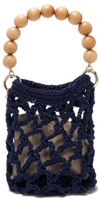 Rosantica Polaris Beaded-handle Woven Bag - Womens - Blue Multi