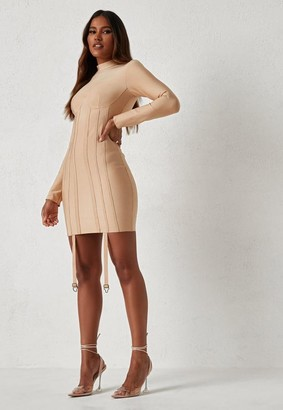 Missguided Dani Michelle X Nude High Neck Harness Bandage Mini Dress