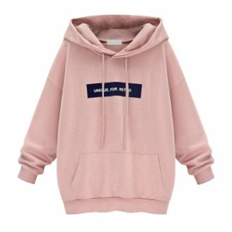 YiMiny Pullover for Women Plus Size Sweatshirts Fashion Long Sleeve Hoodie Jumper Letter Tops Blouse Pink