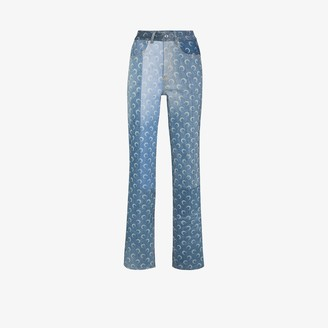 Marine Serre Crescent Moon print regenerated jeans