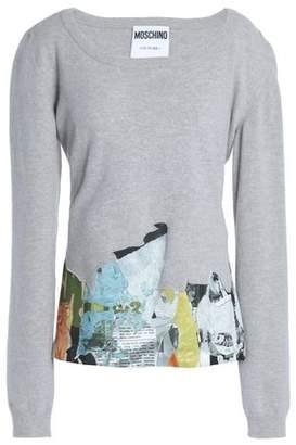 Moschino Appliqued Melange Stretch-knit Sweater