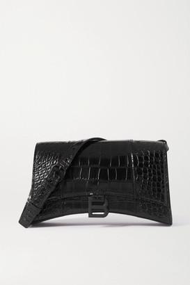 Balenciaga Hourglass Croc-effect Leather Shoulder Bag - Black