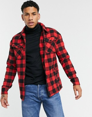 Soul Star zip-thru plaid flannel shirt with double pocket in red