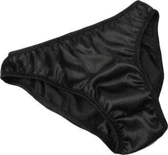 "Fdl Satin Bikinis Black Shimmering Satin Plain and Simple Bikini Briefs Panties Knickers (XS fits Hips 32""-34"")"