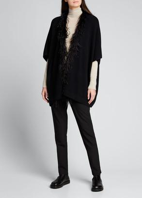 Sofia Cashmere Cashmere Kimono Cardigan with Feather Trim