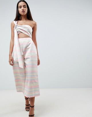 Asos DESIGN Structured Drape Jumpsuit In Pastel Stripe