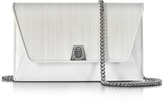 Akris Anouk White Horsehair and leather Clutch w/Chain
