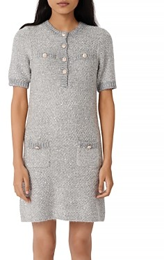 Maje Raveno Knit Sequined Shirt Dress