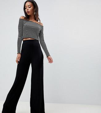 Asos Tall DESIGN Tall jersey basic wide leg pants-Black