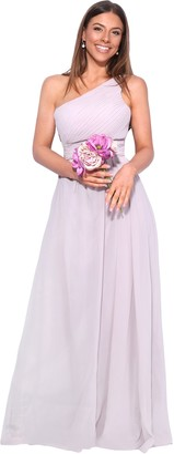 KRISP 4814-TAU-08: One Shoulder Maxi Prom Dress
