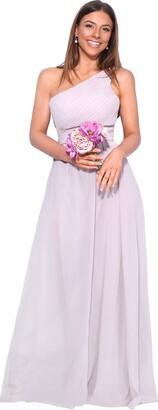 KRISP 4814-TAU-12: One Shoulder Maxi Prom Dress