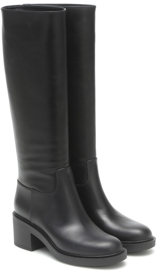 Knee High Black Leather Boots No Heel