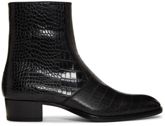 Saint Laurent Black Croc Wyatt Zip Boots