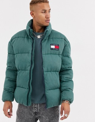 Tommy Jeans essential puffer jacket in washed green with large flag logo