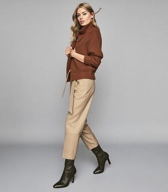 Reiss HORTON Wool Blend Straight Leg Trousers Camel