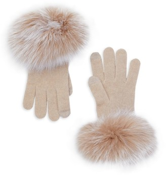 Sofia Cashmere Cashmere & Fox-Fur Trim Touch Screen Knit Gloves