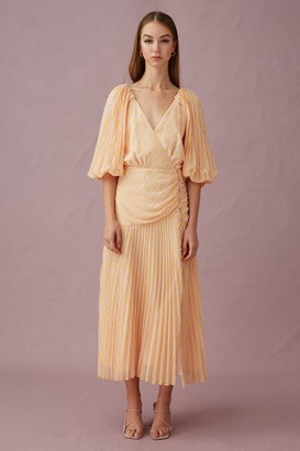 Keepsake CUPID LONG SLEEVE MIDI DRESS Yellow Stripe