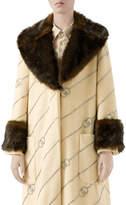 Gucci Logo Jacquard Faux-Fur Trim Coat