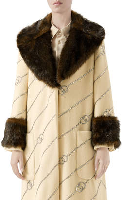 Gucci Logo Jacquard Faux-Fur Trim Coat