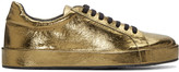 Jil Sander Gold Metallic Leather Sneakers
