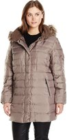 Fleet Street Ltd. Women's Plus-Size Classic Down Coat with Faux Fur Hood