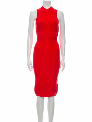 Cushnie Mock Neck Knee-Length Dress Red