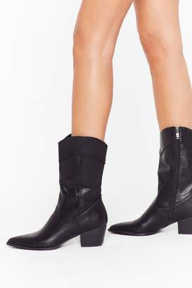 Nasty Gal Womens High cut pu western cowboy boots - black - 3