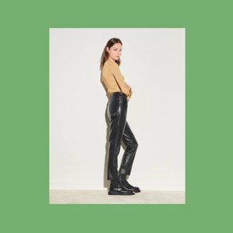 Sandro Straight leather pants with seaming