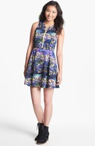 Lush Zip Front Print Skater Dress (Juniors)