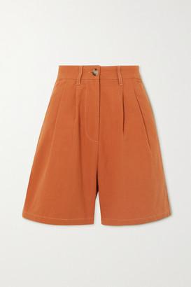 L.F. Markey Henry Pleated Cotton Shorts - Orange