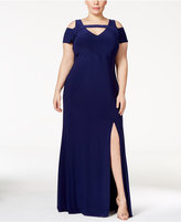 Night Way Nightway Plus Size Cold-Shoulder Keyhole Gown