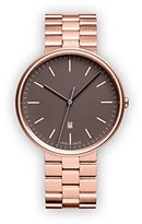 Uniform Wares M38 Quartz Watch with Grey Analogue Dial with Rose Gold Stainless Steel Strap