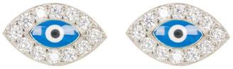 Swarovski Best Silver Women's Earrings - Sterling Silver Evil Eye Stud Earrings With Crystals