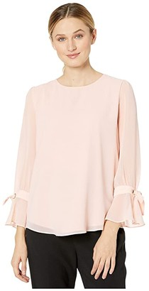 Calvin Klein Long Sleeve Top with Grommets and Ties (Blush) Women's Blouse