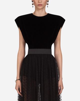 Dolce & Gabbana Short-Sleeved Velvet Top