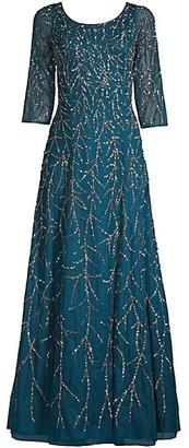 Aidan Mattox Sequin Tulle A-Line Gown