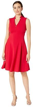 Calvin Klein A-Line Dress w Logo Zipper Front (Red) Women's Dress