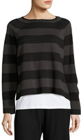 Eileen Fisher Striped Cropped Long-Sleeve Top